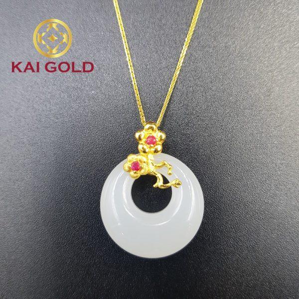 Mat Day Chuyen Hoa Dao Vang 24k 9999 Cam Thach Bach Ngoc Kaigold 1