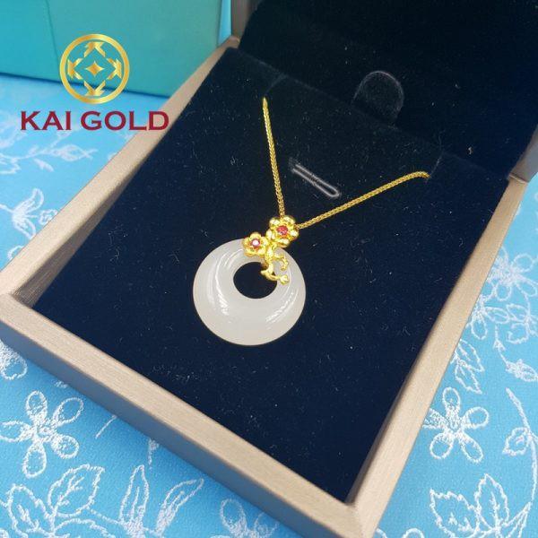 Mat Day Chuyen Hoa Dao Vang 24k 9999 Cam Thach Bach Ngoc Kaigold 3