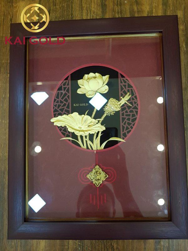 Tranh Lien Hoa Do Dat Vang 24k Kaigold 1