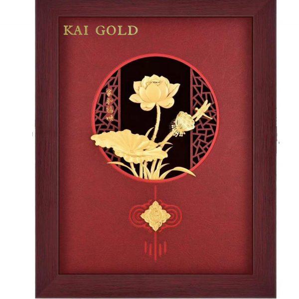 Tranh Lien Hoa Do Dat Vang 24k Kaigold