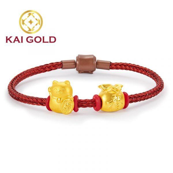 Vong Tay Bao Tien Mix Meo Chieu Tai Vang 24k 9999 Day Thep Kaigold 1