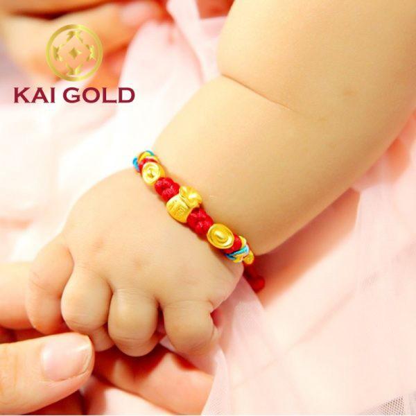 Vong Tay Bao Tien Size 2 Vang 24k 9999 Mix Kim Nguyen Bao Dan Day Handmade Kaigold 2