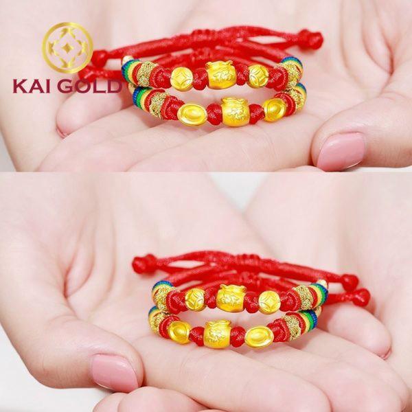 Vong Tay Bao Tien Size 2 Vang 24k 9999 Mix Kim Nguyen Bao Dan Day Handmade Kaigold 3