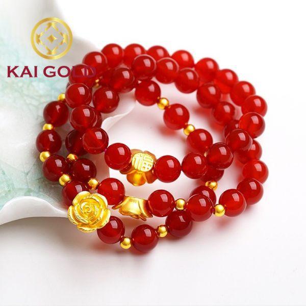Vong Tay Hoa Hong Size Vang 24k 9999 Mix Bi Vang Va Vong Da Kaigold 1
