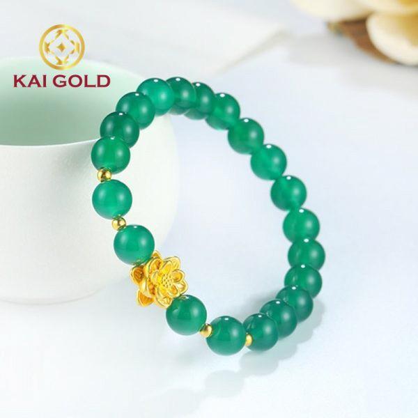 Vong Tay Hoa Sen Vang 24k 9999 Mix Vong Da Kaigold 2