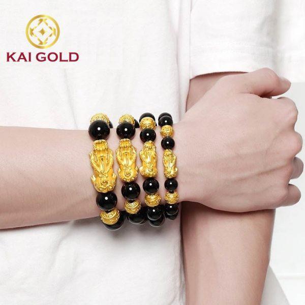 Vong Tay Ty Huu Size 4 Vang 24k 9999 Mix Vong Da Den Kaigold 2