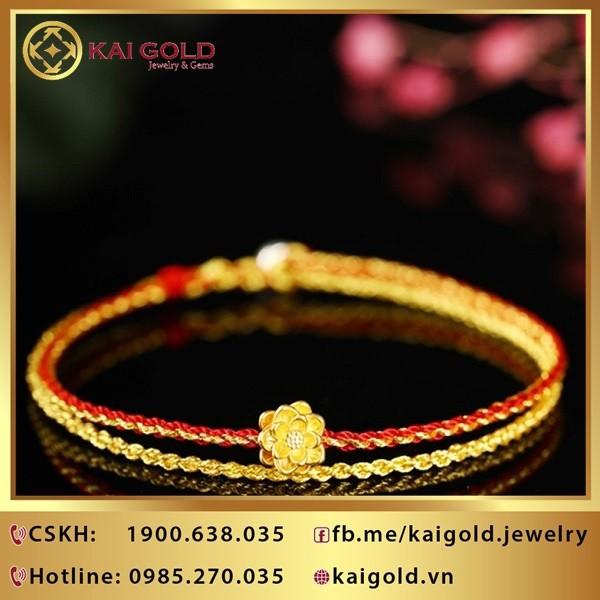 Charm Hoa Sen Vang 24k 9999 Mini Kaigold 1